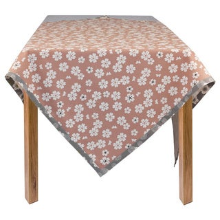 Organic Cotton Vintage Pink Flower Square Tablecloth