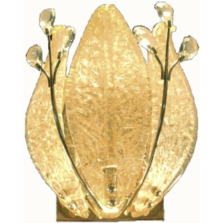 Goldtone 2-light Wall Sconce with Clear Crystals