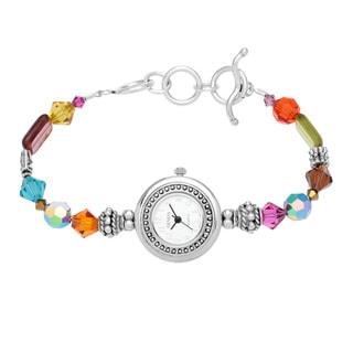 Kele & Co. Sterling Silver Beaded and Crystal Watch