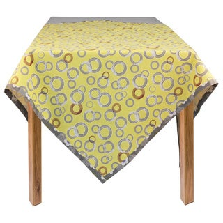 Yellow Novelty Circles Organic Cotton Rectangle Tablecloth