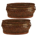 Wald Imports 13.75-inch Oval Brown Bamboo Basket (Set of 2)