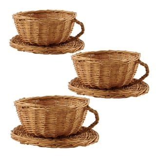 Wald Imports 8-inch Willow Cup and Saucer (Set of 3)