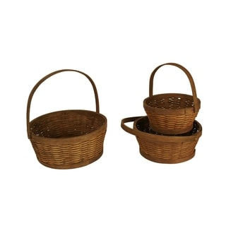 Wald Imports Woven Wood Baskets (Set of 3)