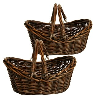 Wald Imports 13.5-inch Dark Willow Basket (Set of 2)