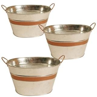Wald Imports 10.5-inch Galvanized Metal Tub (Set of 3)