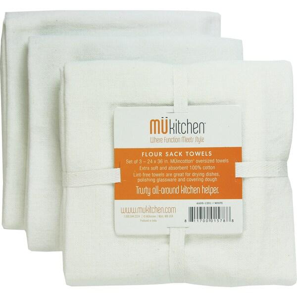 White Cotton Flour Sack Towel (Set of 3)
