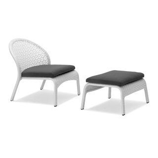 South White/ Black Wicker Chair and Ottoman Set