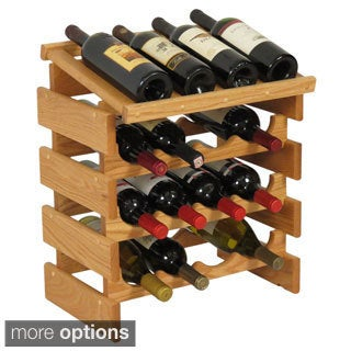 Stackable 16-bottle Wood Dakota Wine Rack with Display Top