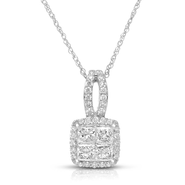 Eloquence 14k White Gold 3/4ct TDW Square Multi-stone Diamond Necklace (H-I, I1-I2)