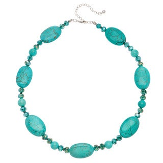 Sterling Silver Oval Turquoise and Teal Crystal Necklace