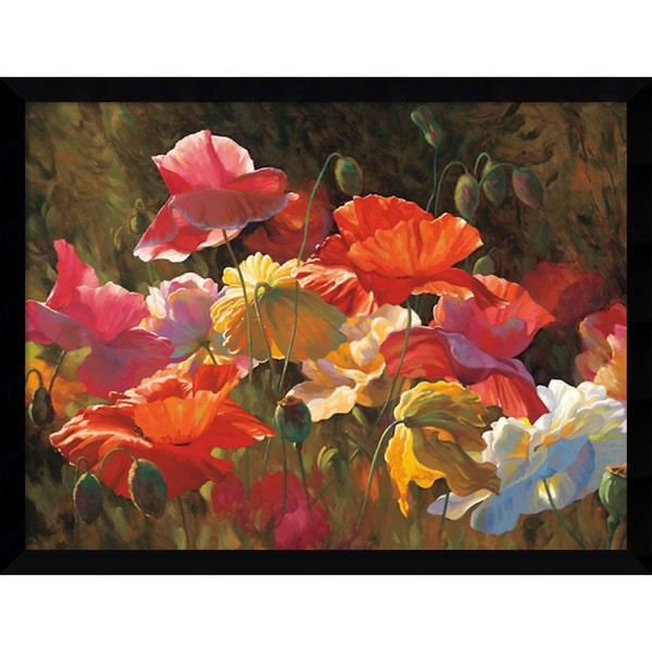 Leon Roulette 'Poppies in Sunshine' Framed Art Print 42 x 32-inch
