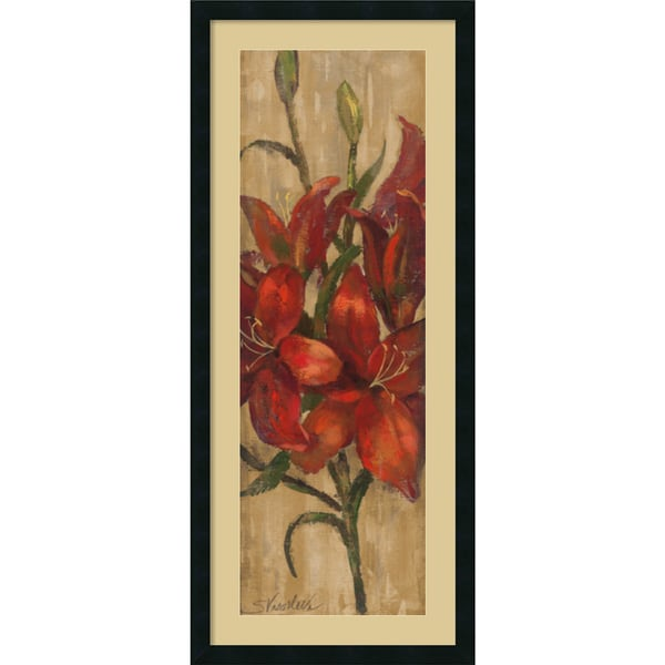 Silvia Vassileva 'Vivid Red Lily on Gold' Framed Art Print 18 x 42-inch