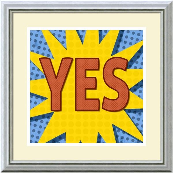 BG Studio 'Word Power - Yes' Framed Art Print 18 x 18-inch