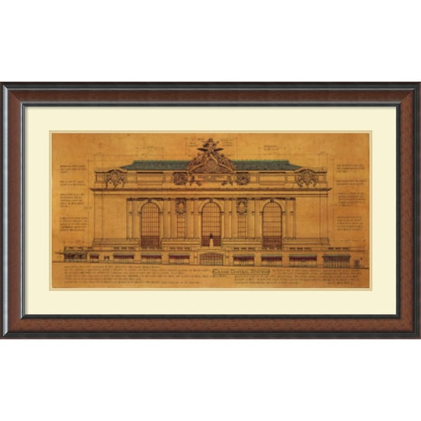 Roger Vilar 'Grand Central Station (Facade)' Framed Art Print 44 x 27-inch