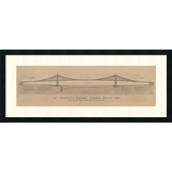 Craig S. Holmes 'Brooklyn Bridge' Framed Art Print 40 x 17-inch