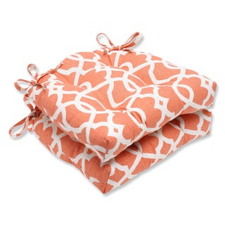 Pillow Perfect Lattice Damask Tangerine Reversible Chair Pad (Set of 2)