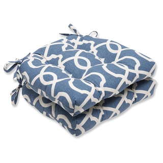 Pillow Perfect Lattice Damask Yacht Reversible Chair Pad (Set of 2)
