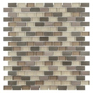 SomerTile 11.25x12-inch Fuse Mini Subway Amador Brushed Aluminum and Glass Mosaic Tile (Case of 10)