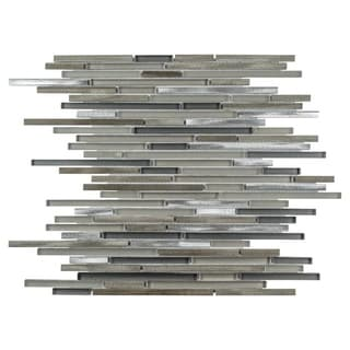 SomerTile 11.75x11.75-inch Fuse Mini Linear Aragon Brushed Aluminum and Glass Mosaic Tile (Case of 10)