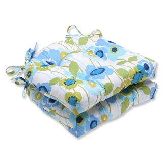 Pillow Perfect Pic-A-Poppy Blue Reversible Chair Pad (Set of 2)