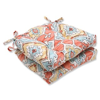 Pillow Perfect Sundance Tangerine Reversible Chair Pad (Set of 2)