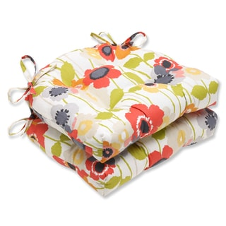 Pillow Perfect Pic-A-Poppy Red Reversible Chair Pad (Set of 2)