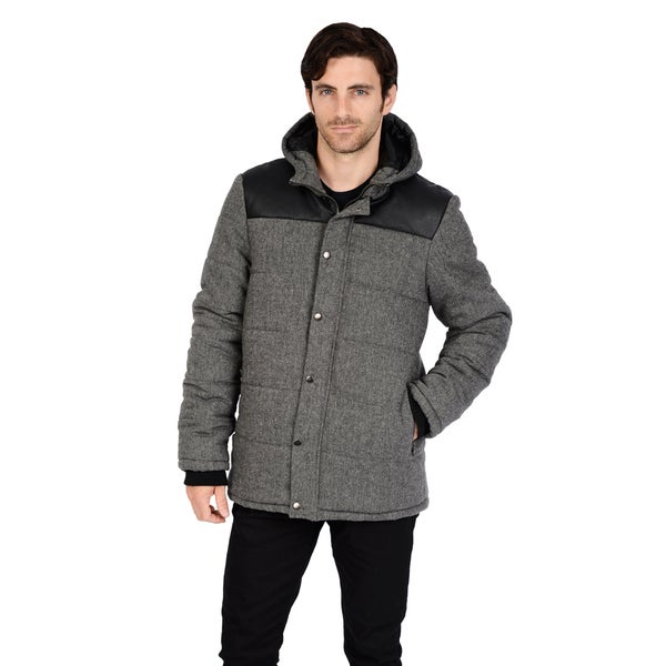 Men's Faux Wool detachable Hooded Puffer with PU Trim and multi pocket front