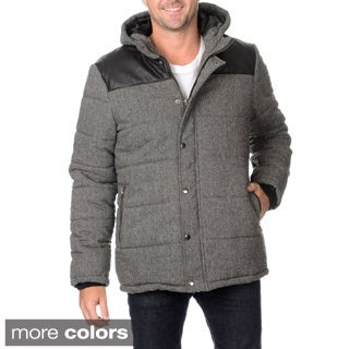 Excelled Men's Faux Wool Detachable Hooded Puffer with Pockets