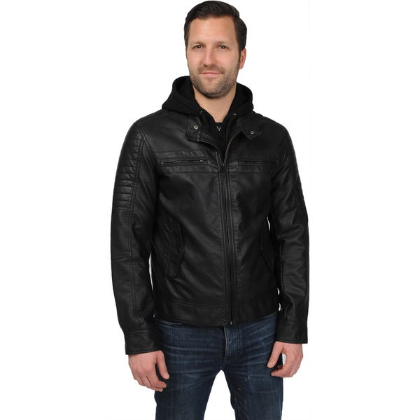 Men's Faux Leather Hooded Banded Waist Hipster Jacket