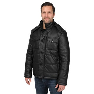 Men's Black Faux Leather Puffer Jacket with Removeable Hood and Chest Pockets