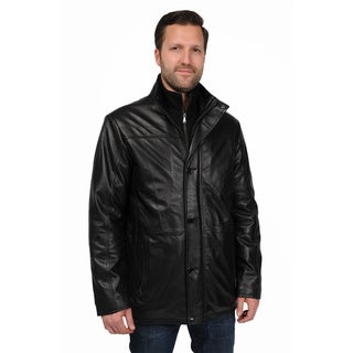 EXcelled Men's Big and Tall Lambskin Car Coat with Detachable Bib
