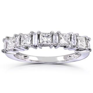 Annello 14k White Gold 3/4ct TDW Princess and Baguette Diamond Ring (H-I, I1-I2)