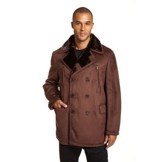 EXcelled Men's Plus Black Faux Shearling Double-breasted Peacoat