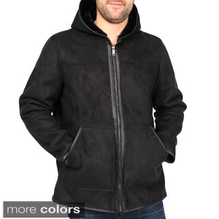Excelled Men's Plus Faux Shearling Hooded Hipster Jacket