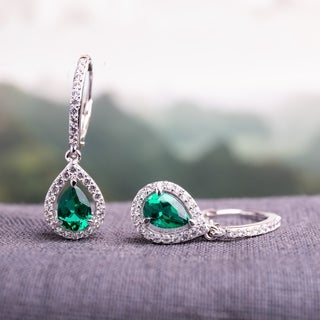 Miadora Sterling Silver Created Emerald and White Sapphire Charm Earrings with Bonus Earrings