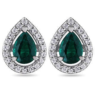 Miadora Silver Created Emerald and White Sapphire Earrings