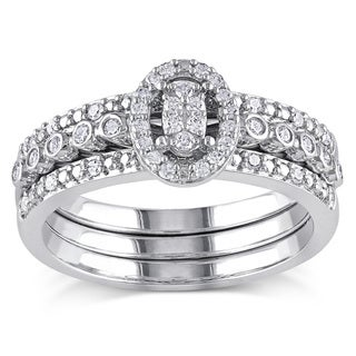 Miadora Sterling Silver 1/3ct TDW Oval Diamond Bridal Set (H-I, I2-I3)