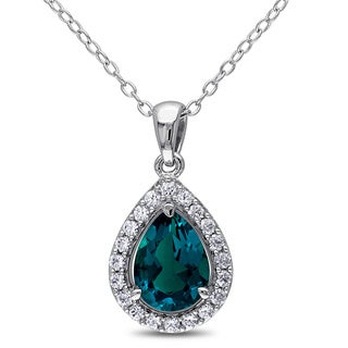 Miadora Silver Created Emerald and White Sapphire Necklace