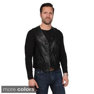 EXcelled Men's Lambskin Button-front Vest