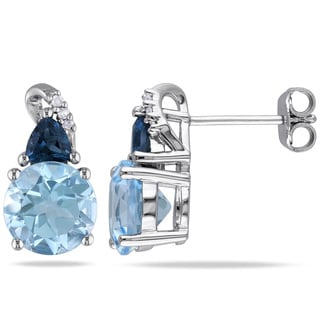Miadora Sterling Silver 5ct TGW Blue Topaz and Diamond Earrings