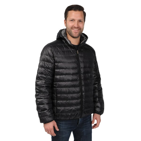 EXcelled Men's Plus Black Packable Down-filled Puffer Jacket