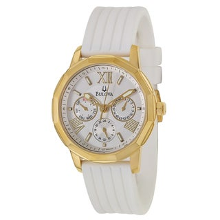 Bulova Women's 97N108 Yellow Goldplated Stainless Steel White Military Time Watch