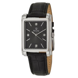 Bulova Men's 96D113 Stainless Steel White Diamond Accent Black Leather Watch