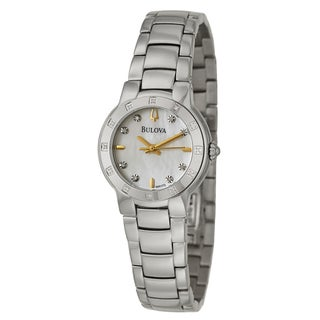 Bulova Women's 96R173 Stainless Steel Diamond Accent Mother of Pearl Dial Watch