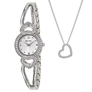 Bulova Women's 96X006 Crystal Watch and Necklace Set
