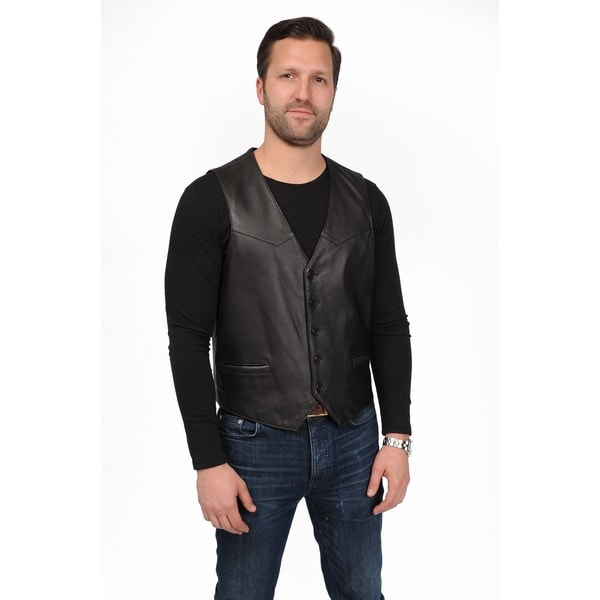 Men's Lambskin Leather Button Front Vest