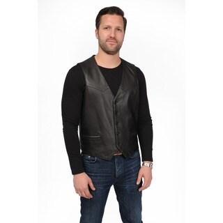 Men's Lambskin Leather Button Front Vest