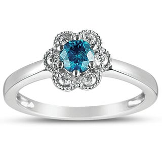 Eloquence 10k White Gold 1/2ct TDW Lab-treated Blue and White Diamond Ring (I1-I2)
