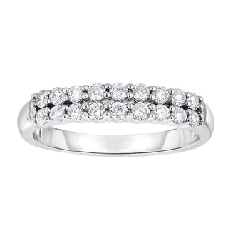 10k White Gold 1/2ct TDW Diamond Double-row Band (H-I, I1-I2)