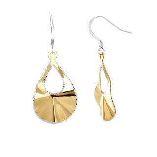 Sterling Essentials 14k Yellow Goldplated Silver Two-tone Laser-Cut Pear Dangle Earrings